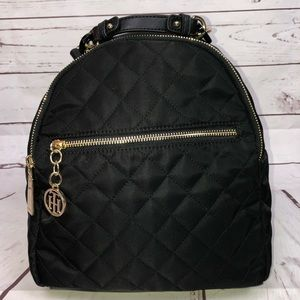 Tommy Hilfiger Black And Gold Quilted Backpack